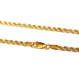 Bracelet corde  2.1 mm 16 cm or jaune 18k