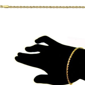 Bracelet Corde 18 cm 1.7mm Or Jaune 18k
