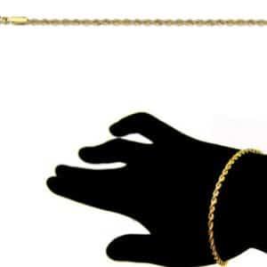 Bracelet Corde 18 cm 1.7mm Or Jaune 18k