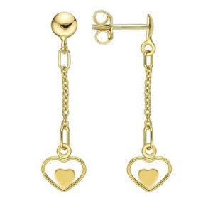 Boucles d'Oreilles Coeurs pendants or jaune 18k