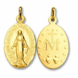 Pendentif  Vierge Notre Dame or jaune 18k