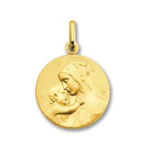 Médaille de la Vierge à L'enfant 18 mm or jaune 18k