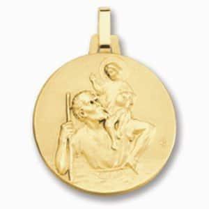 Médaille de St Christophe 18 mm or jaune 18k