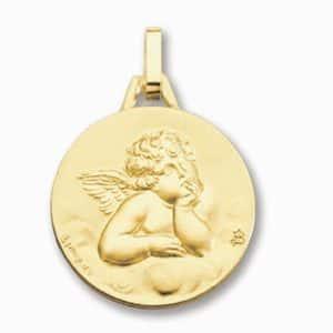 Médaille Ange de Raphaël 18 mm or jaune 18k