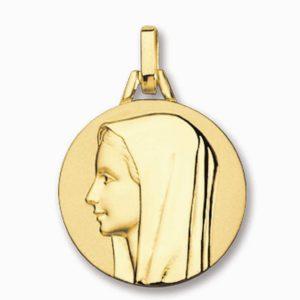 Médaille de la Vierge 18 mm or jaune 18k