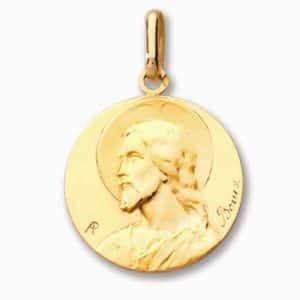 Pendentif médaille du Christ  or jaune 18k