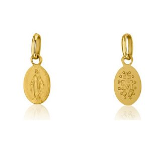Pendentif Médaille Vierge miraculeuse 9 mm or jaune 18k