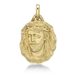 Médaille du Christ 22 mm or jaune 18k