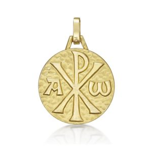 Médaille Chrisme 18 mm or jaune 18k
