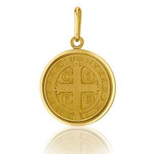 Médaille St Benoît 16 mm or jaune 18k