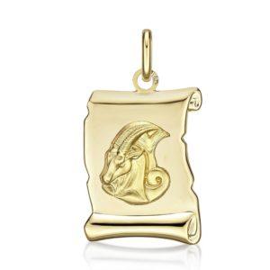 Médaille Zodiaque Capricorne parchemin 20 mm or jaune 18k