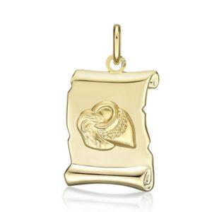 Médaille Zodiaque Verseau parchemin 20 mm or jaune 18k