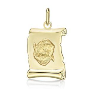 Médaille Zodiaque Poisson parchemin 20 mm or jaune 18k