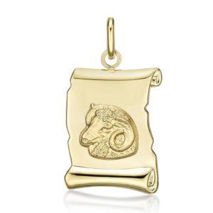 Médaille Zodiaque Bélier parchemin 20 mm or jaune 18k