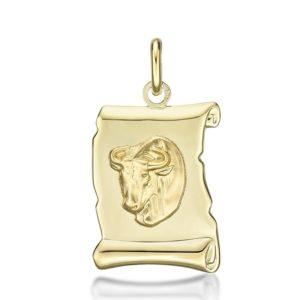 Médaille Zodiaque Taureau parchemin 20 mm or jaune 18k