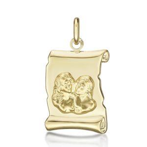 Médaille Zodiaque Gémeaux parchemin 20 mm or jaune 18k