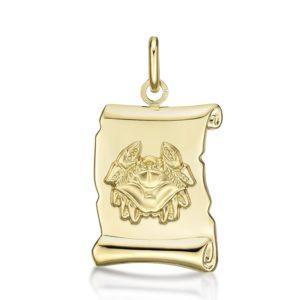 Médaille Zodiaque Cancer parchemin 20 mm or jaune 18k