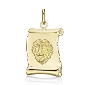 Médaille Zodiaque Lion parchemin 20 mm or jaune 18k