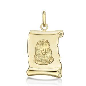 Médaille Zodiaque Vierge parchemin 20 mm or jaune 18k