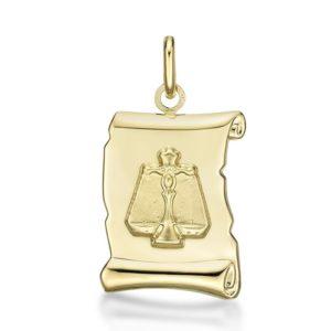 Médaille Zodiaque Balance parchemin 20 mm or jaune 18k