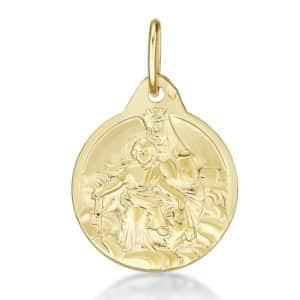 Médaille pendentif Vierge couronnée 15 mm or jaune 18k