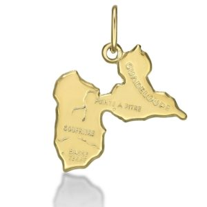 Pendentif Carte Guadeloupe or jaune 18k