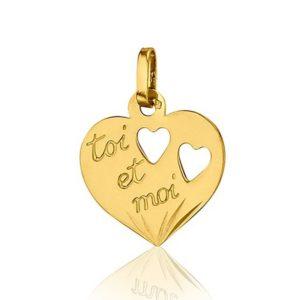 Pendentif Coeur toi et moi 14mm or jaune 18k