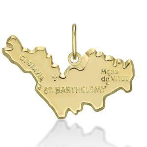 Pendentif Carte St Barthélémy or jaune 18k