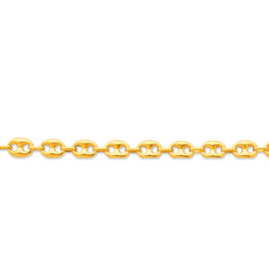 Bracelet grains de café 21 cm 9 x 12 mm or jaune 18k