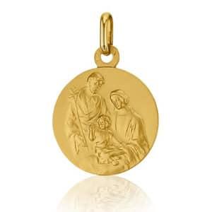 Pendentif Médaille Sainte Famille 16 mm or jaune 18k