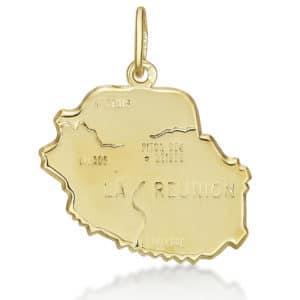 Pendentif Carte de la Réunion or jaune 18k