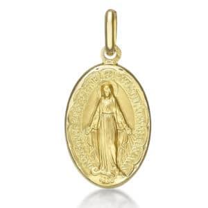 Médaille Vierge miraculeuse 16 mm, Or jaune 18k  (Lourdes France)