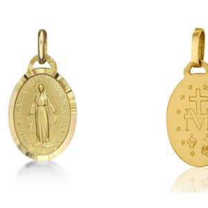 Médaille Vierge miraculeuse 15 mm, Or jaune 18k  (Lourdes France)