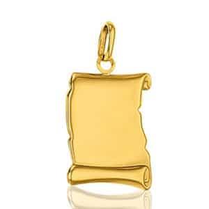 Médaille à Graver Parchemin  19 mm, Or jaune  18k ( GRAVURE OFFERTE)