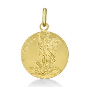 Pendentif Médaille St Michel 15 mm or jaune 18k