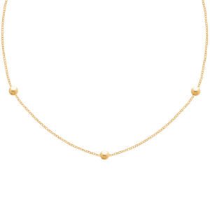 Collier Or jaune 18k  3 boules 42 -45 cm