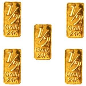 5 Lingots 1/2 Grain or pur 24K 999.9 & Carte cadeau d'investissement