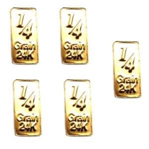 5 Lingots 1/4 Grain or pur 24K 999.9 & Carte cadeau d'investissement