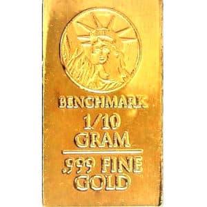 Lingot 1/10 grammes or pur 24 carats 999.9