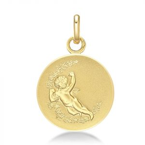 Pendentif Médaille Cupidon Or jaune 18k