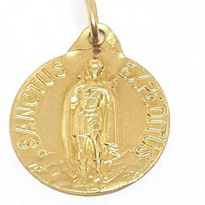 Pendentif médaille Saint Expedit Or jaune 18k