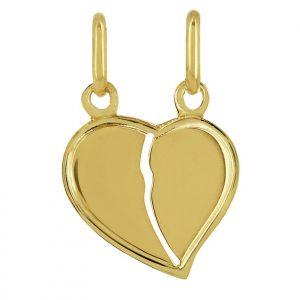 Pendentif Cœur sécable Or jaune 18k